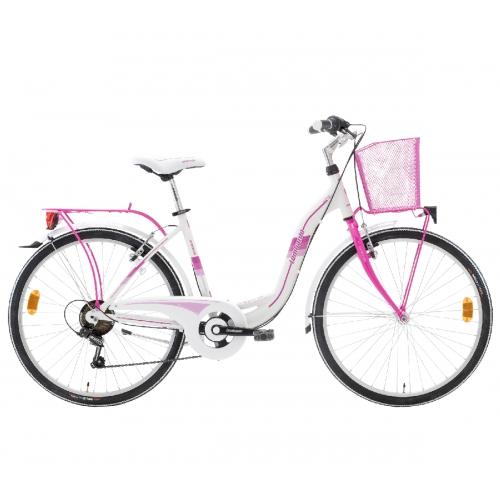"Lombardo Taormina 26"" City White-Fuchsia ποδήλατο πόλης Δαλαβίκας bikes"