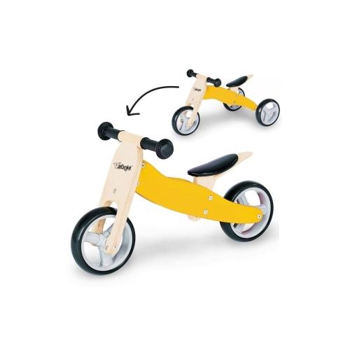 Zenit Ξύλινο Τρίκυκλο Ποδηλατάκι Trike 2 σε 1 yellow Δαλαβίκας bikes