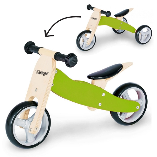 Zenit Ξύλινο Τρίκυκλο Ποδηλατάκι Trike 2 σε 1 green Δαλαβίκας bikes