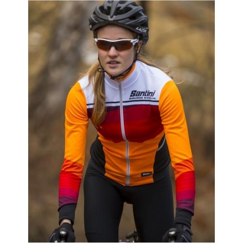 Santini Coral Maglia Orange -Ποδηλατική χειμερινή γυναικεία μπλούζα
