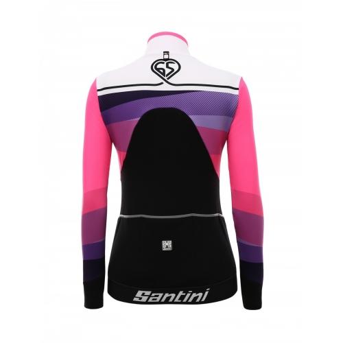Santini Coral Jacket Pink -Ποδηλατικό χειμερινό γυναικείο αδιάβροχο μπουφάν
