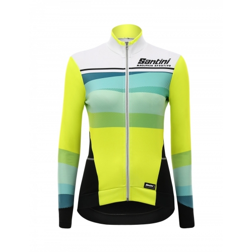 Santini Coral Maglia Yellow -Ποδηλατική χειμερινή γυναικεία μπλούζα
