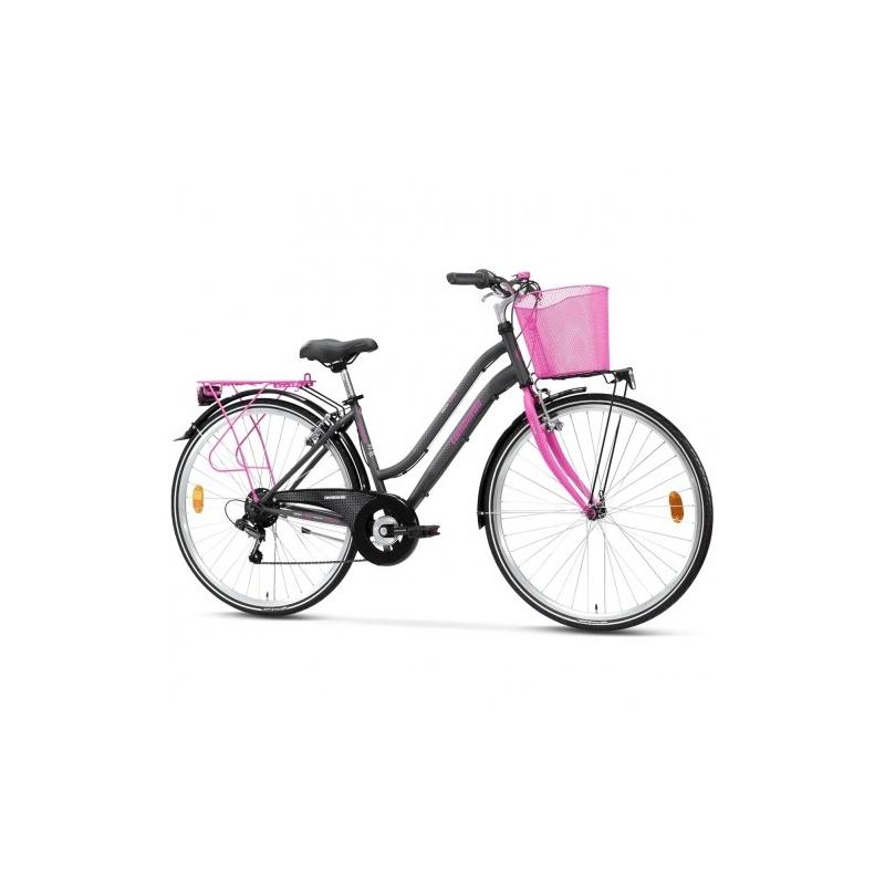 "Lombardo Siena 100 28"" Donna Trekking - Anthracite Fuchsia Glossy ποδήλατο πόλης Dalavikas bikes"