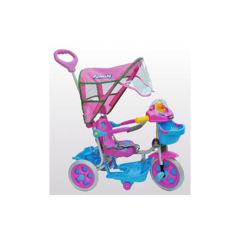 Τρίκυκλο ποδήλατο bebe FAMILY με μπάρα καθοδήγησης και τέντα Dalavikas bikes