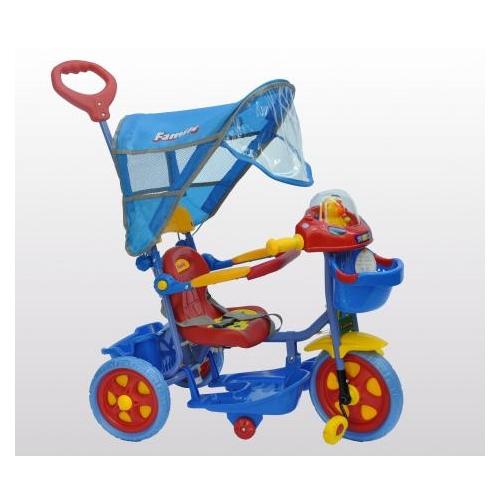 Τρίκυκλο ποδήλατο bebe FAMILY με μπάρα καθοδήγησης και τέντα